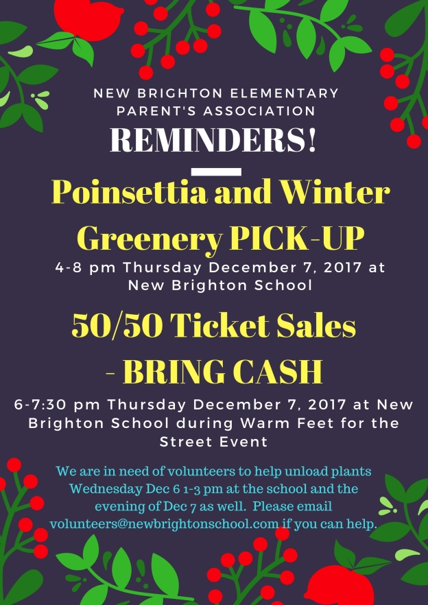 Reminders Dec Fundraisers
